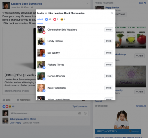 Select the post likes link on your post and this will pop up. Go through the list to invite people to like your page.