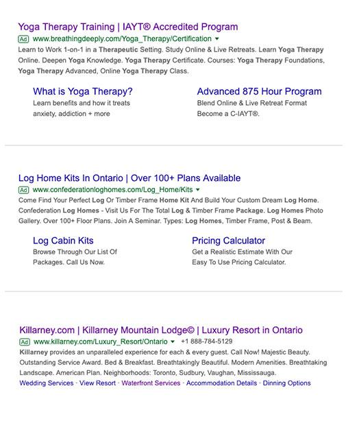 Google Search Ad Sample